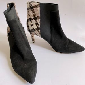 41 BRUNO ricci PLAID HAIR ON HIDE SUEDE BOOTS